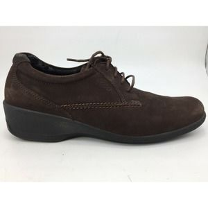 ECCO Women's Dark Brown Suede Lace Up Shoes